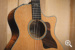 Taylor 600 Series Sitka Spruce Guitar Top with Abalone Rosette Inlay and Ebony Pickguard