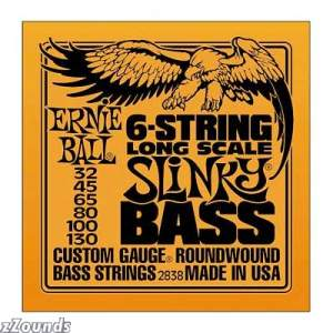 Ernie Ball 2838 6-String Long Scale Slinky Bass Electric Bass Strings (32-130)