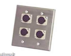 Pro Co Double Wall Plate with 4 Female XLR (Model WP2035)
